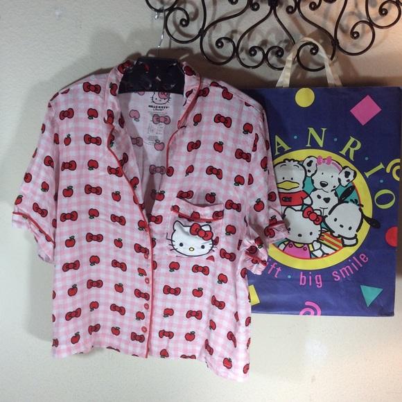 Hello Kitty Other - Hello kitty Sanrio pink red apple pajama top PJs